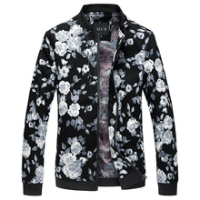 YuWaiJiaRen Brand Men Coat Autumn Bomber Jacket Stand Collar Flower Printed Jackets Men Large Size M-6XL Homme Jaqueta Masculina