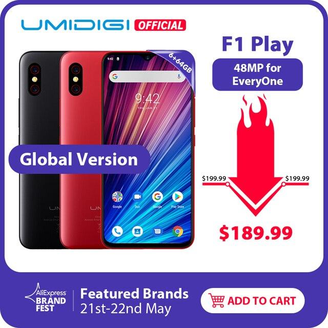"UMIDIGI F1 לשחק אנדרואיד 9.0 48MP + 8MP + 16MP מצלמות 5150 mAh 6 GB RAM 64 GB ROM 6.3 ""FHD + Helio P60 הגלובלי גרסת Smartphone הכפול 4G"