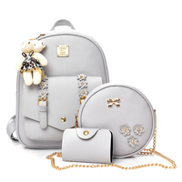 DXYZ Women Small 4pcs Set Flowers Backpack With Cosmetic Bag Girls School Bag Lady Fashion Backpack