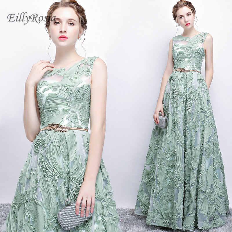 0c3fec6e9d Vestidos de Noche largos verdes de menta para fiesta de boda de encaje una  línea hasta
