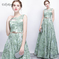 Mint Green Long Evening Dresses for Wedding Party Lace A Line Floor Length Formal Women Party Gowns Godmother Dinner Dress 2019