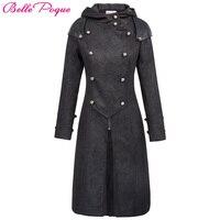 แฟชั่นในยุคกลางยาวT Rench Coatผู้หญิงฤดูหนาวสีดำคลุมด้วยผ้าโกธิค