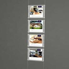 (4 шт./колонна) A4 односторонняя подвесная магнитная рамка светодиодные светильник вые коробки, даже Плакаты для подсветки светильник вых карманов