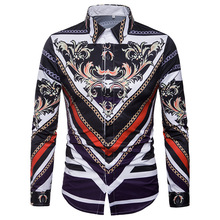 цены Male spring new casual shirt Personality 2018 clothes men Ethnic style Digital pattern cotton dress long-sleeve shirt large size