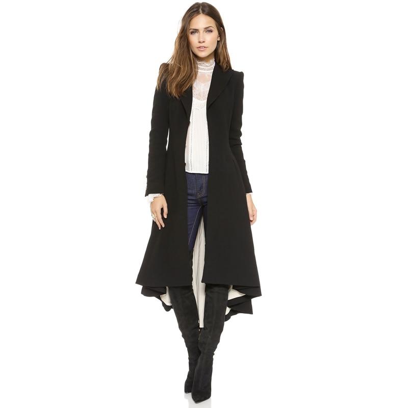 Haoduoyi модные осенне зимние женские шерстяные пальто, черный Тренч с длинным рукавом, Женский Теплый Тренч, верхняя одежда