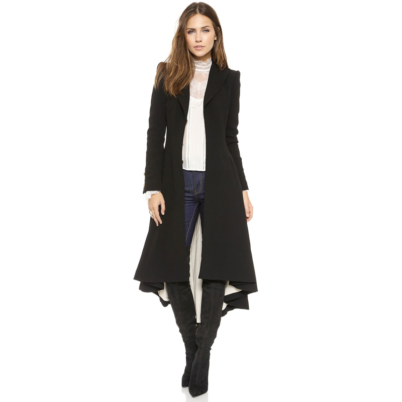 Haoduoyi Fashion Autumn Winter WomenWool Blend Coats Black Long Sleeve   Trench   Coat Ladies Warm   Trench   Coats Lady Outwears