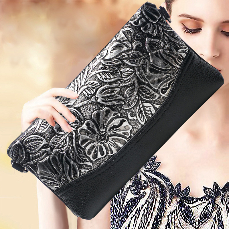 Women Genuine Leather Alligator Embossed Wristlet Hand Clutch Bag Female Lady Mini Envelope Bags Evening Shoulder Messenger Bag women clutch bag genuine leather evening bags candy color summer crossbody messenger bag female shoulder bags envelope handbags