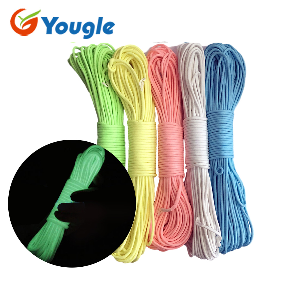 цена на YOUGLE 9 Strand Glow in the Dark & Luminous Paracord Parachute Cord Survival Rope 100FT tent rope