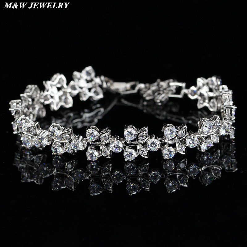M&W JEWELRY Hot Selling Roman Chain Bracelet for Women Luxury AAA+ Cubic Zirconia Inlay Charm Bracelet Bride Wedding Jewelry