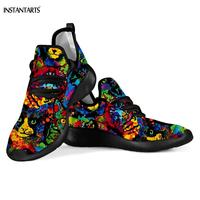 INSTANTARTS Cute 3D Colorful Rainbow Cat/Kitten Pattern Woman Running Shoes Lightweight Mesh Knit Sneakers Breath Sports Shoes