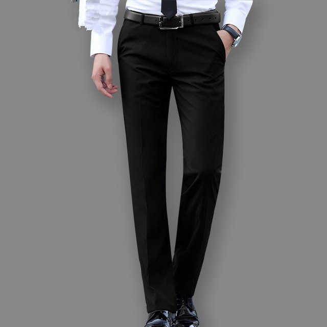 81a2dd4d9e8 Mens Slim Suit Pants Men Dress Pants Straight Business Office Mens Formal  Pants Classic Trousers Male Black Navy Blue Gray Red