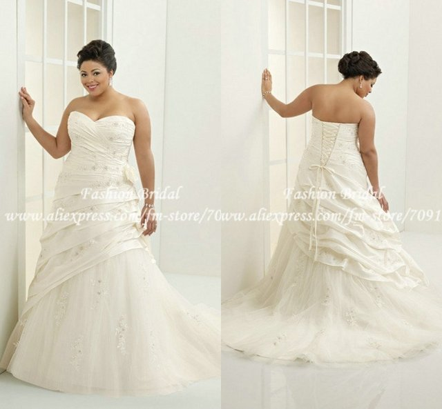 Plus Size Wedding Gowns with Pleats