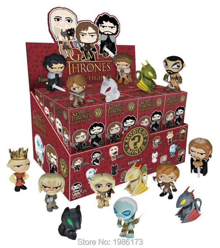 NEW 1pcs Game of Thrones BOX Mini <font><b>Mystery</b></font> Funko Figure Drogon WHITE WALKER NED ROB ARYA STARK JON SNOW DAENERYS