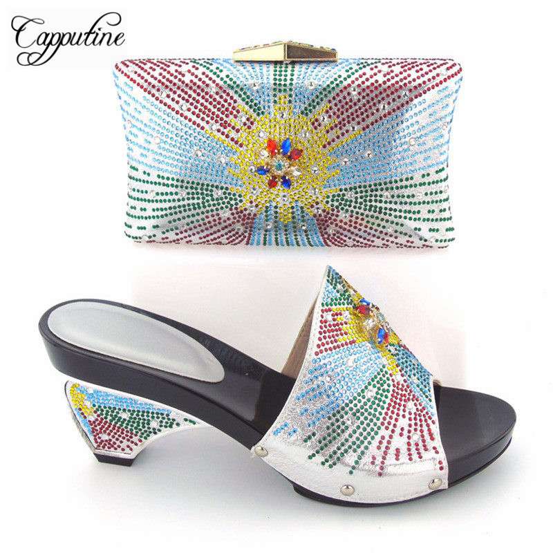 Capputine Nigerian Style Woman Yellow Shoes And Bag Set For Party African Rhinestone Middle Heels Shoes And Bag Set Size 37-43 capputine nigerian style woman yellow shoes and bag set for party african rhinestone middle heels shoes and bag set size 37 43