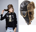 Русский зима мех шляпы на открытом воздухе ветрозащитный толстый тёплый зима полиуретан кожа женщины кепка мужчины езда на велосипеде шляпа