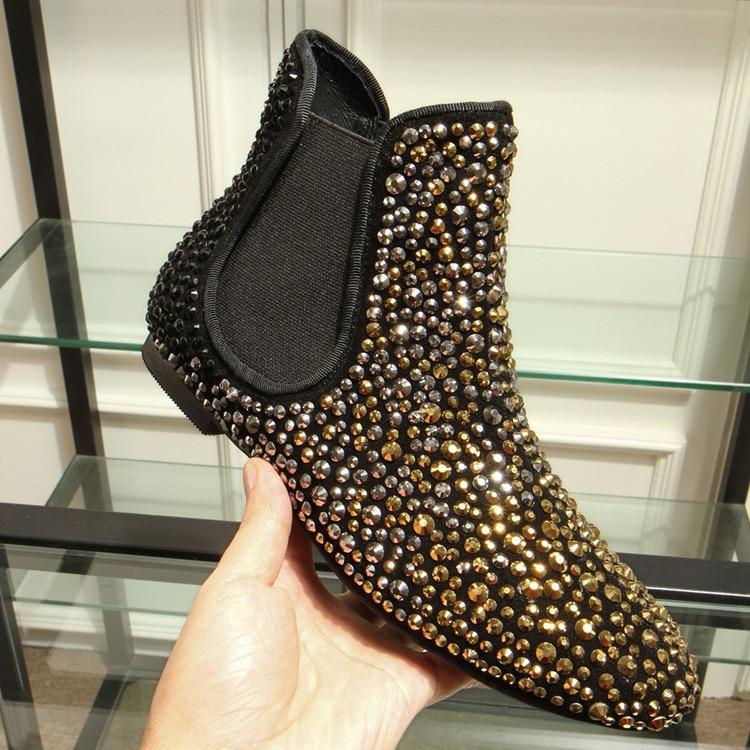 2018 noir or strass bottines femmes chaussures appartements sans lacet moto bottes hiver plat chaussures européennes Botas Mujer