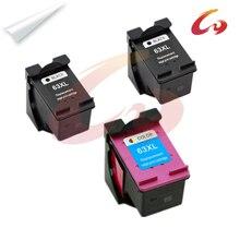 2 pcs bk 1 pcs color inkjet cartucho de tinta para impressora hp 63xl hp63 hp deskjet 3630 officejet 3632 4652 4655 envy 4522 impressora para hp 63 xl