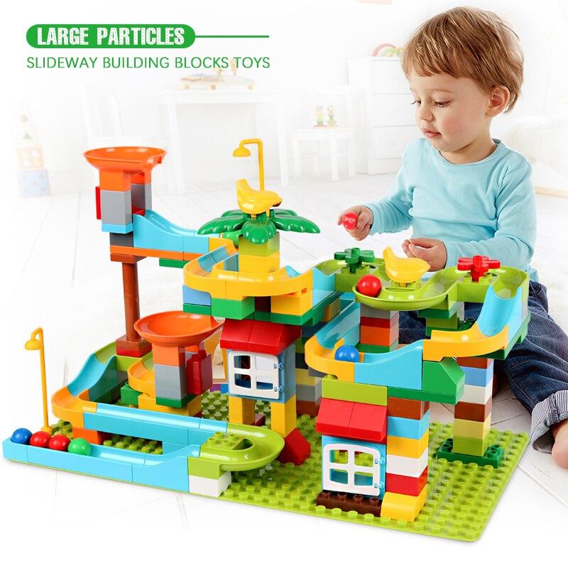 153 pièces marbre course course labyrinthe balle piste blocs de construction entonnoir glisser assembler briques jouets pour enfants