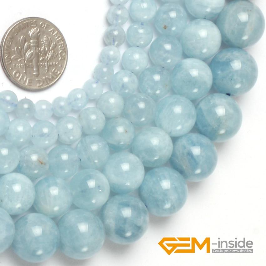 Round Blue Aquamarines Beads Natural Stone Beads DIY Beads For Bracelet Or Necklace Making Wholesale! Strand 15 Wholesale !