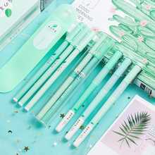 цена на Korean Cherry Blossoms Gel Pen Set Fine Point Pens Full Needle Black Watery Signature Pen Kawaii School Supplies Gift Stationery
