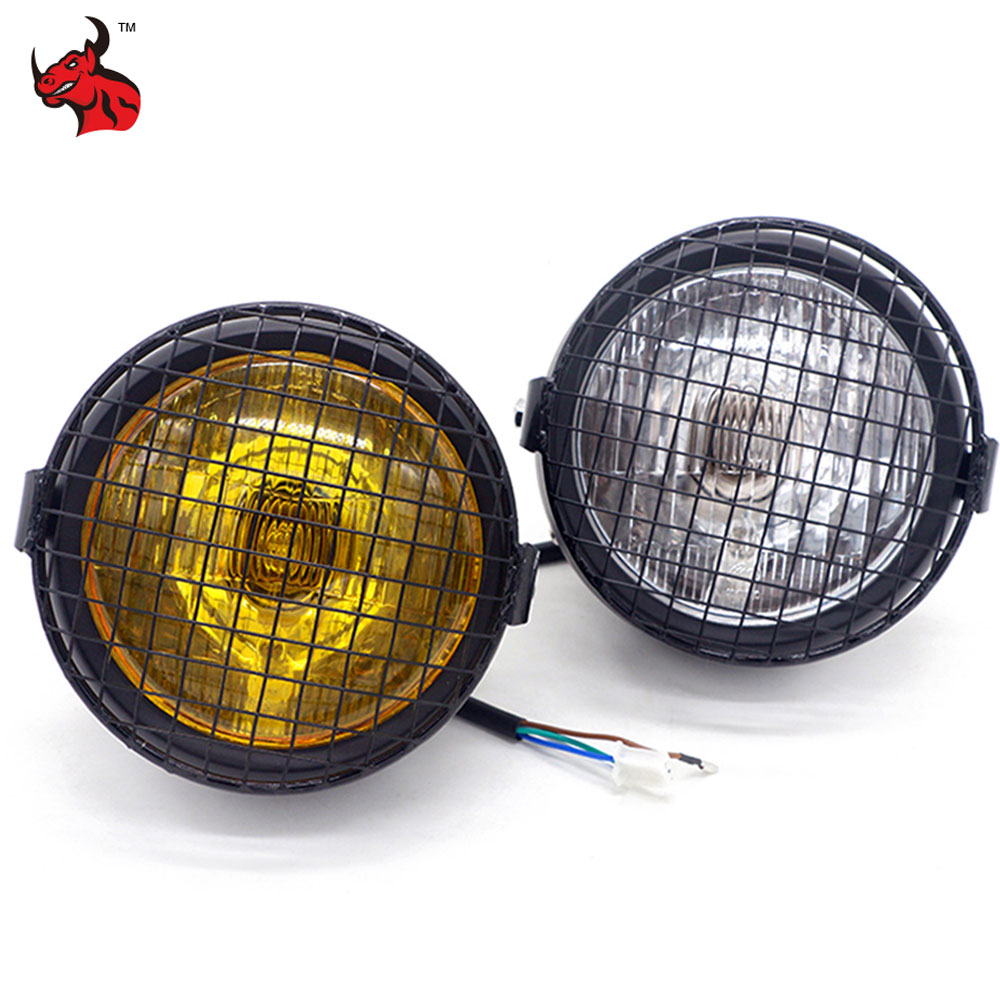 цена Motorcycle Headlight LED Headlamp Grill Side Mount Cover Headlight Lamp Cover Mask Universal Motorbike Headlight Farol De Moto