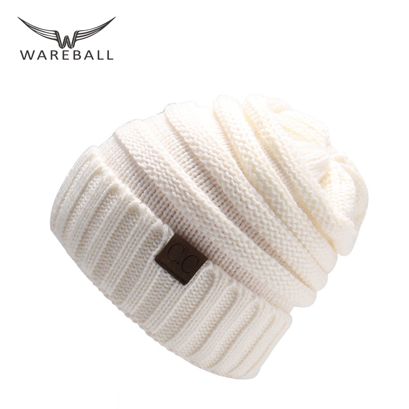 WAREBALL Fashion Women Casual Beanies Skullies Warm Stripes Knitted Gorros Bonnet Femme Autumn Winter Hats Caps For Girl Women skullies