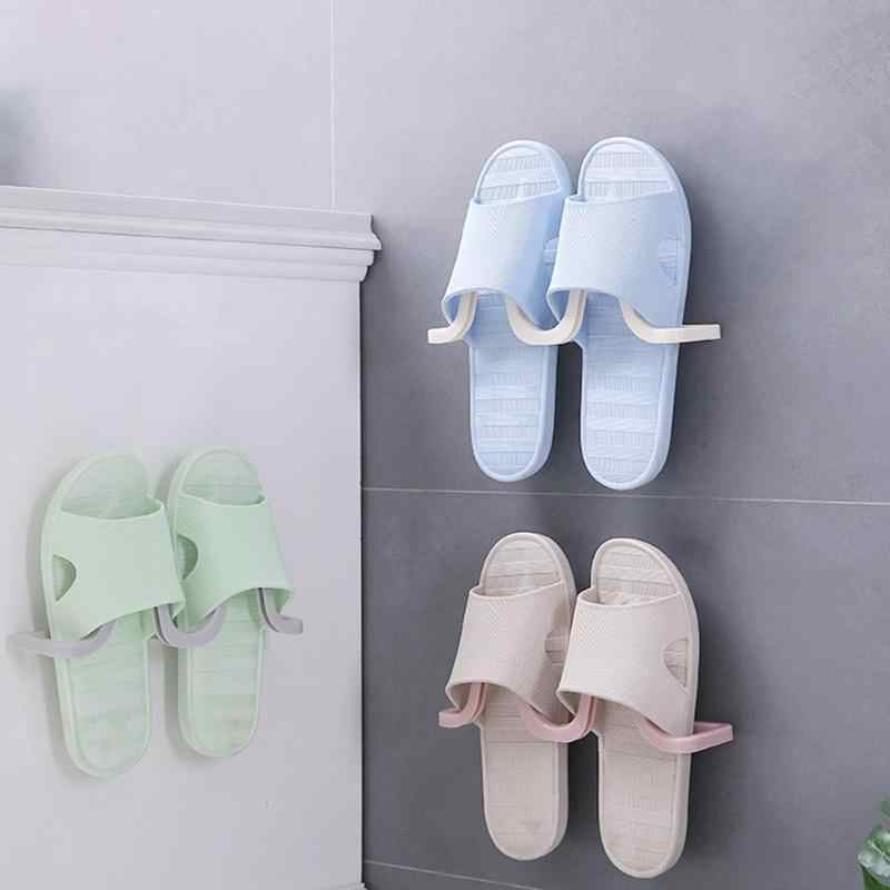 Shoes Rack Holder Wall Mount Slippers Storage Shelf Organizer Wall Hanging Shoes Racks Shoe Organizer Slot 2019