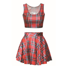Summer Style Black Milk Dress tartan New Fashion Set 3D Print Two Piece Dresswomen Ball Gown Set Crop Top Suit