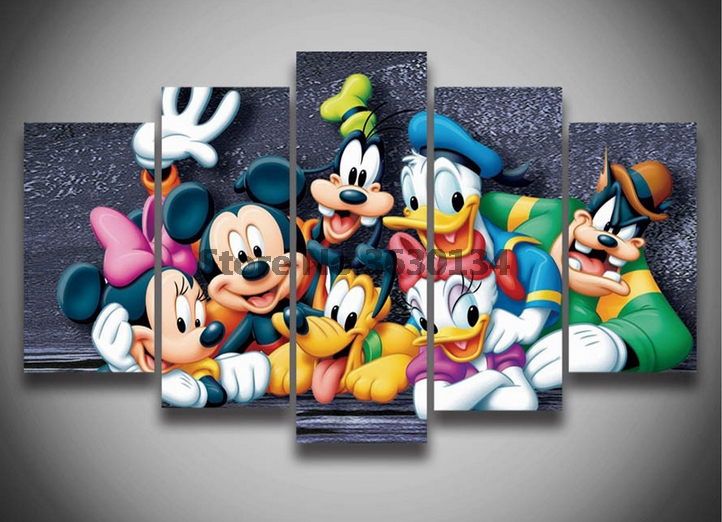 Cartoon Mouse Duck 5Pcs 5D Full Square Round Diy Diamond Painting Cross Stitch Pattern Diamond Embroidery