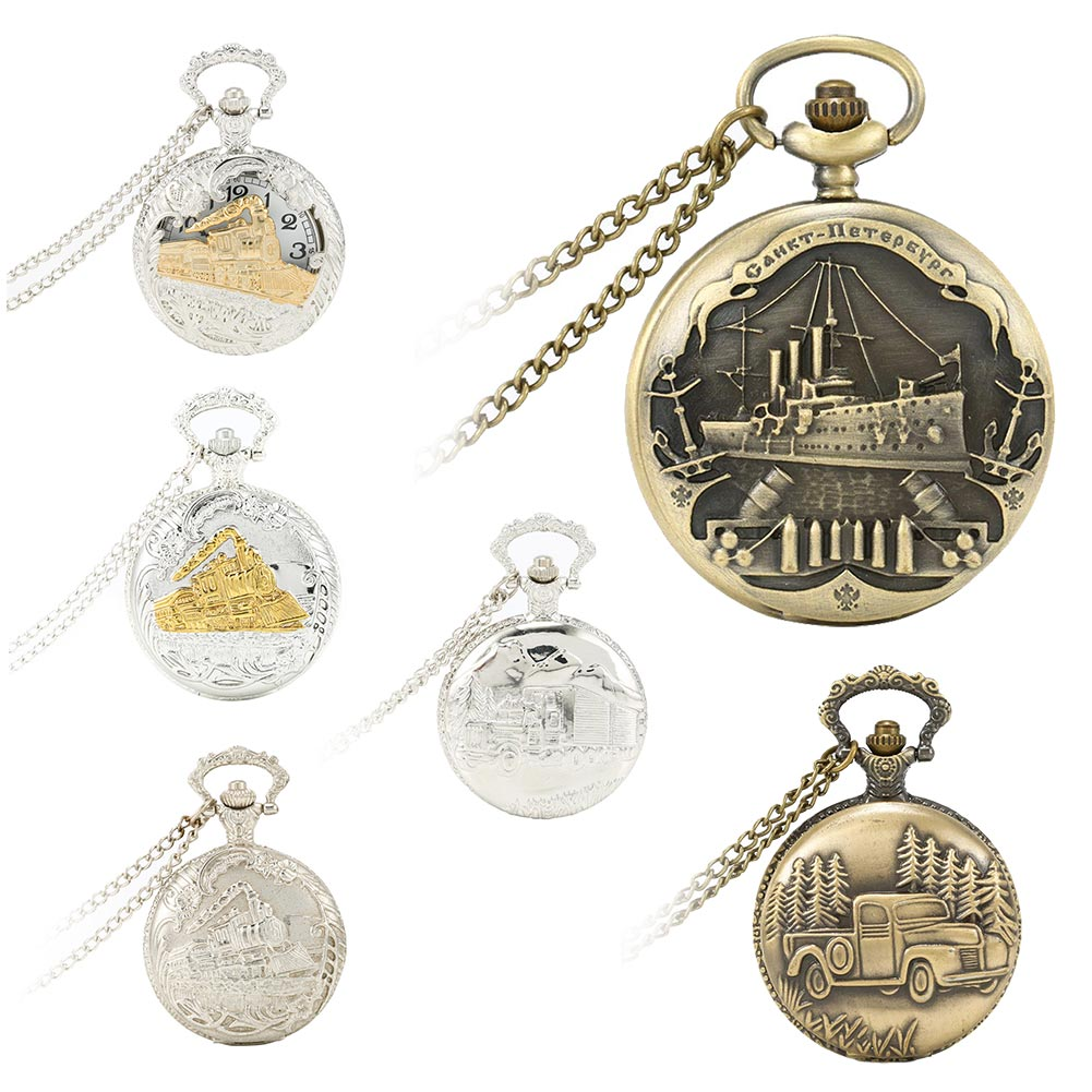 6 Styles Vintage Charming Train Boat Ship Carved Hollow Steampunk Quartz Pocket Watch Men Women Necklace Pendant Clock LL@1