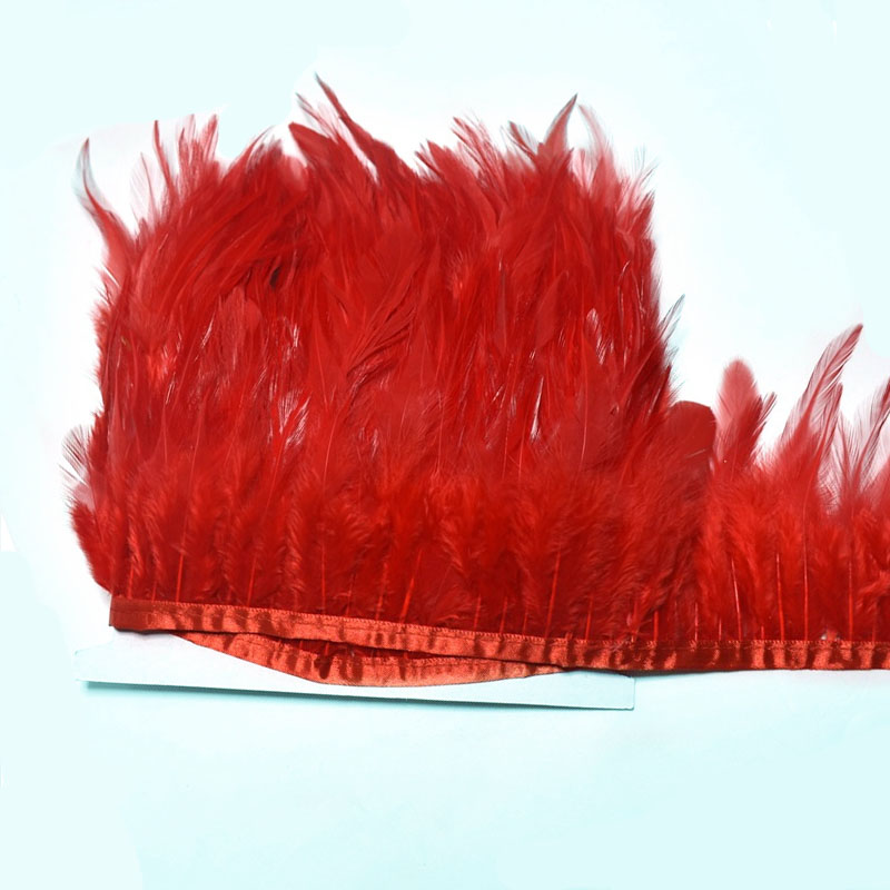 10yards lot 8 10cm red saddle rooster feather trim needlework feather fringe crafts sewing for DIY clothing dress Accessories in Feather from Home Garden