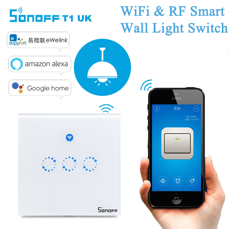 US $20 1 33% OFF|Sonoff T1 3 Gang WiFi Wall Light Switch Panel IOS Android  Ewelink APP 433MHz RF Remote ON/OFF 90V 250V Smart Scene Voice Control-in