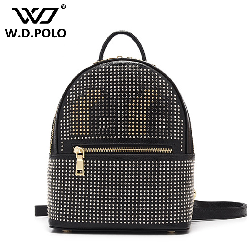 WDPOLO New Solid color Color rock stud fashion women genuine leather backpack  monster school bag hot selling M2291 2016 fashion women s genuine leather backpack backbag hot selling woven genuine leather