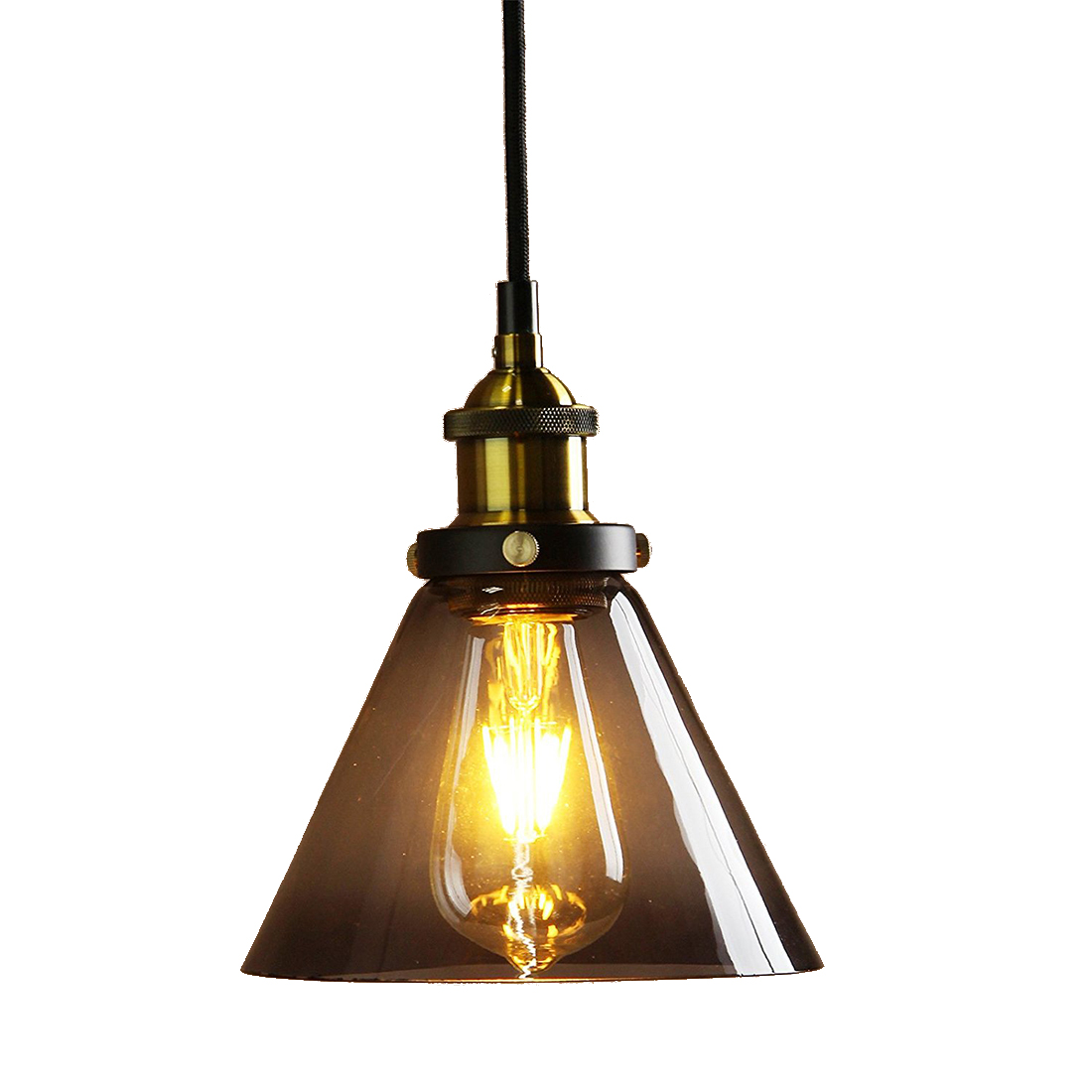 купить Vintage Metal Finish Black Gray Glass Shade Loft Pendant Lamp Retro Vintage Light fitting (diameter 18cm glass shade Brass head) недорого
