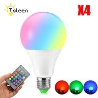 2018 דימר עם שלט רחוק IR 4 יחידות E27 RGB LED הנורה 16 שינוי הצבע RGB Led אור מנורת AC 85 ~ 265 V RGBW Led זרקור