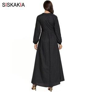 Image 2 - Siskakia מזדמן מוסלמי ארוך שמלת אתני V צוואר ארוך שרוול פרחוני רקמת מקסי שמלות שחור בתוספת גודל בגדי ערב 2019