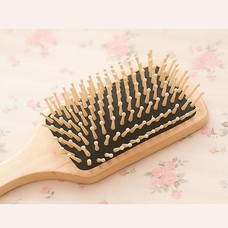 Hair Comb Brush Natural Bristle Anti-statisk Curly Wood Handle - Hårvård och styling - Foto 3