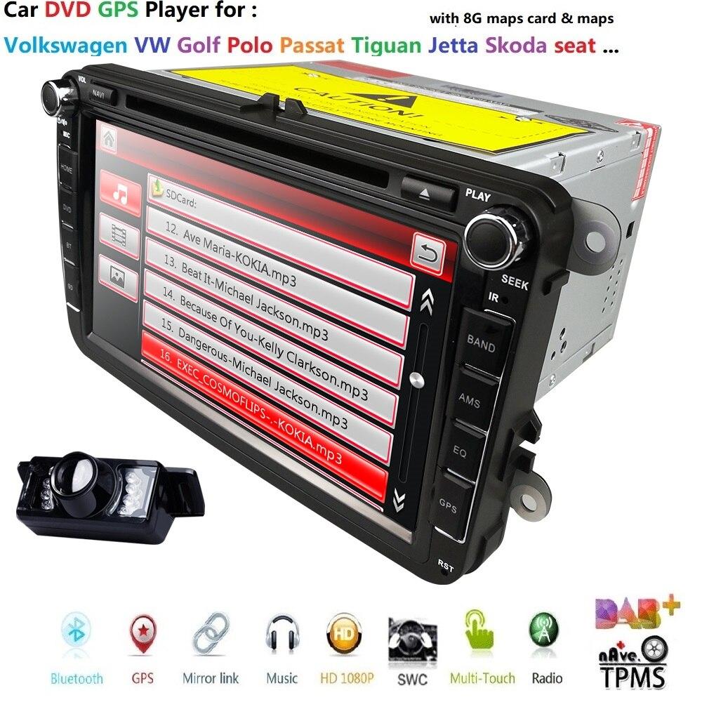 Cheap 2Din 8Inch Car DVD Player For VW POLO PASSAT Golf Skoda Octavia SEAT LEON DAB SWC Radio GPS Navigation 1080P FM Free Camera Maps 0