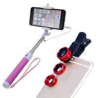 Obiettivo del telefono Mobile autoscatto lever per iPhone4/5/6 caso Samsung smartPhone xiaomi cavo Selfie stick Monopiede + ampio Marco Fish Eye