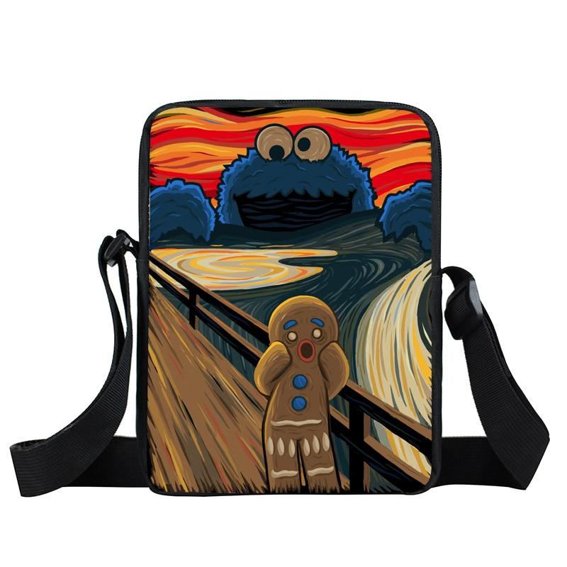 Funny Cookie Monster Mini Messenger font b Bag b font Oil Painting The Scream Women Men