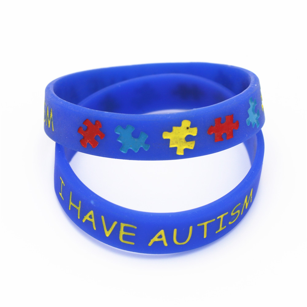 Купить с кэшбэком LUKENI 1PC I have Autism Puzzle Silicone Bracelets&Bangles Daily Reminder Blue Wristbands Kids Size Multicolor Gifts SH086