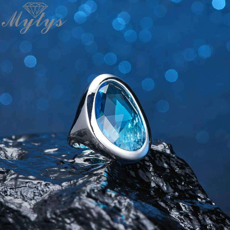Mytys Clear Ocean Blue แหวนแฟชั่นผู้หญิงแหวนค็อกเทลเครื่องประดับ Silver สี Big แก้วหินแหวน R2133