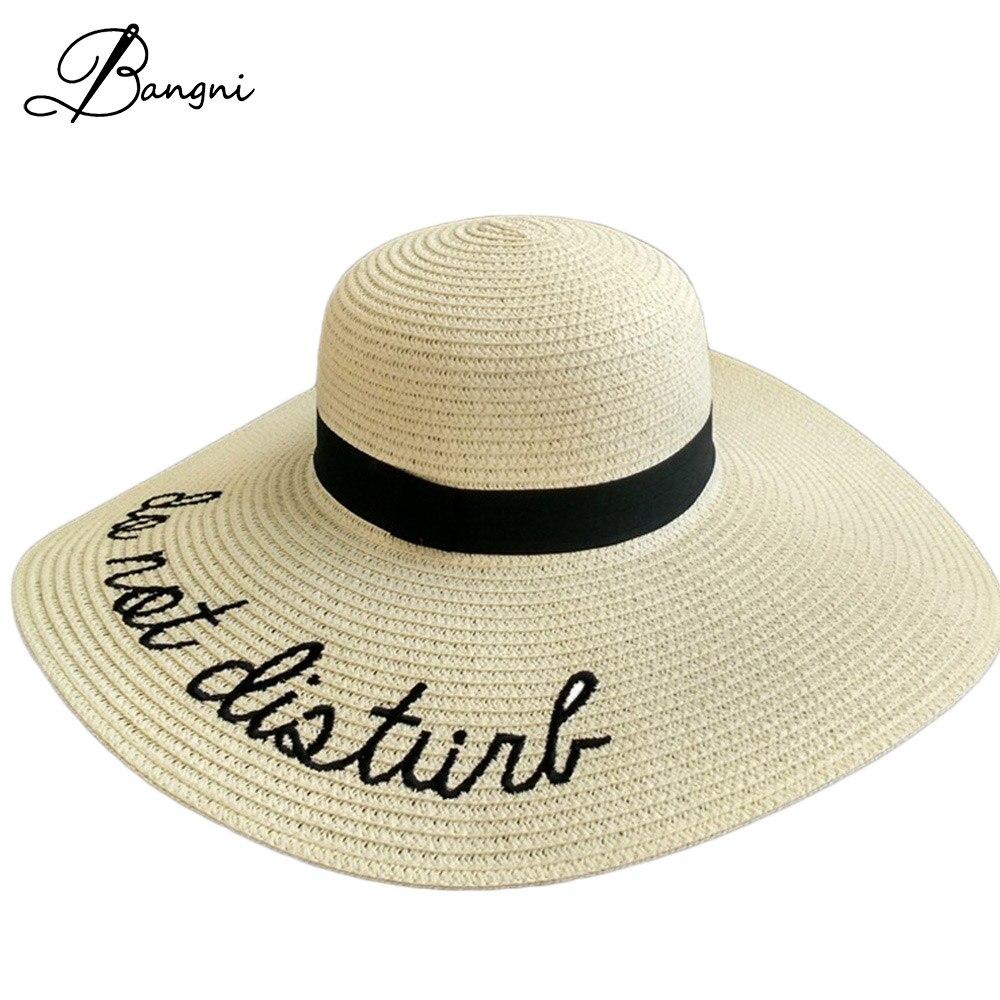 ✓Nuevo plegado señoras playa de ala ancha de paja sombreros con ...