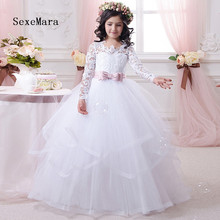 Beautiful White Lace Long Sleeves Flower Girls Dresses for Wedding with Sash Ball Gown Girls First Communion Dresses Size 2-16Y cute lovely champagne lace flower girl dresses with pink sash appliqued ball gown party wedding girls dress with train
