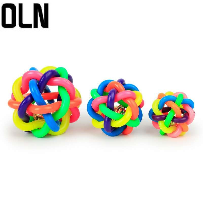3 Size colorful ball pet toy dog cat with bell for small medium large Chihuahua Poodle product Rubber Round Ball