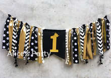 New Black Gold 1 One Inspired Highchair Bunting Boy 1st Birthday Party  Garland Banner Baby Shower Decorations Nursery Hanging