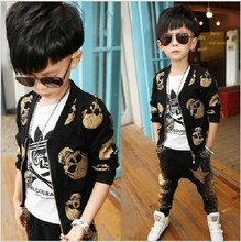 Children's Suit Spring Autumn Fitted New Type of Personality Boys Skeleton Head Long Sleeve Haren Pants Kids Clothing Sets