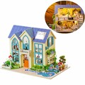 Funny Miniatura Doll House DIY Dollhouse Kit Victoria Cottage With Cover LED Light Gift Home Collection Decor Gift For Girls