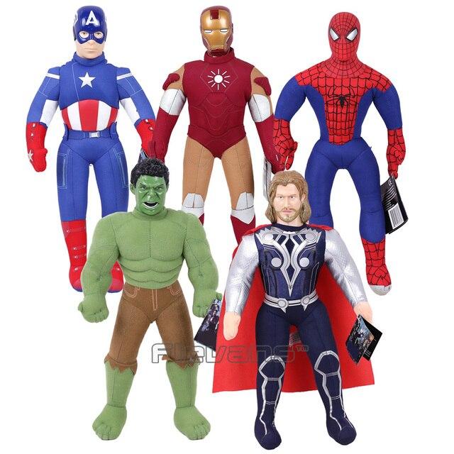 Marvel Vingadores Capitão América Homem De Ferro Hulk Thor Spiderman Plush Soft Toy Stuffed Boneca Presente para As Crianças Menino 43 cm