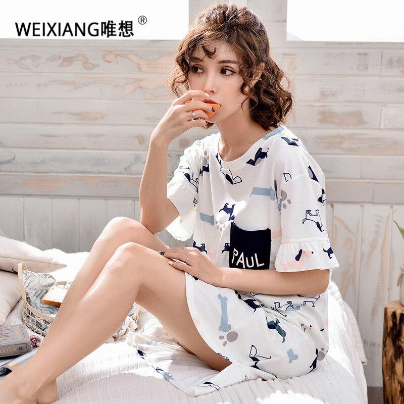 WEIXIANG Women Long Nightgown Cotton Nightdress Loose Sleep Dress Casual Home Clothe Nightshirt Plus Size Sleepwear